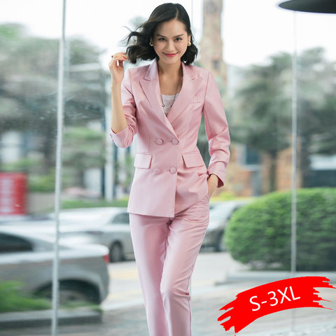 2019 New Office Work Blazer Suits Of High Quality OL Women Pants Suit Blazers Jackets With Trouser Two Pieces Set Red Pink Blue Islamabad
