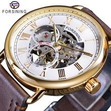 Forsining Fashion Golden Case White Dial Small Seconds Display Design Skeleton Mechanical Wristwatches Waterproof Heren Horloge