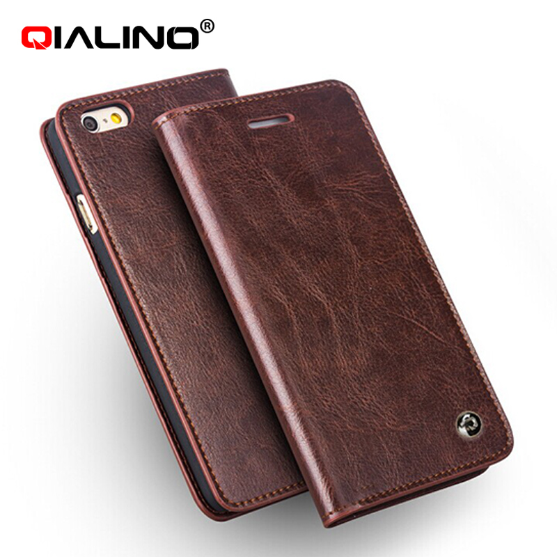 QIALINO brand pure handmade flip cover for iphone6 / 6s genuine leather case for iphone 6 / 6s plus wallet case with card slot
