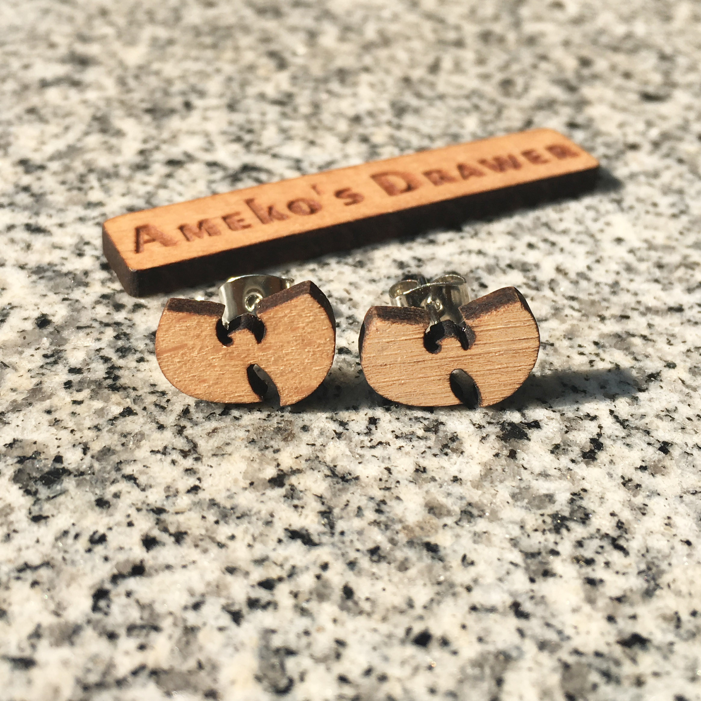Ambitious Wu-tang Clan Earring Laser Engraved Hip Hop Earrings Music Stud Super Star Wooden Earring Handmade Earring X 10 Pairs