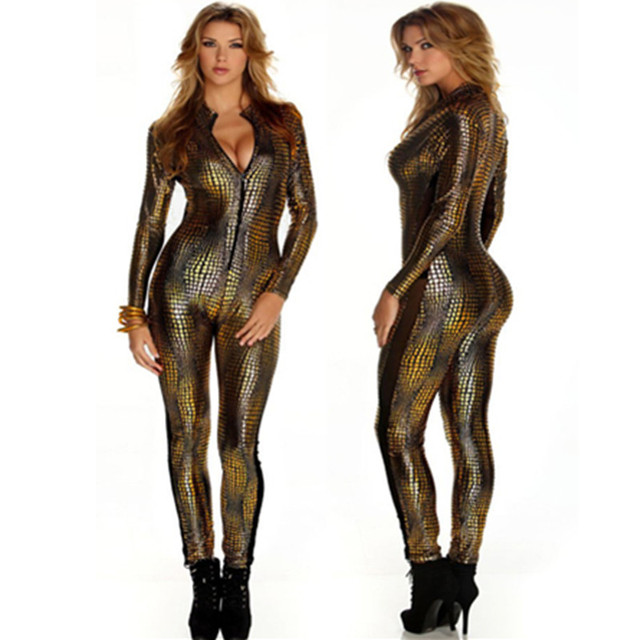 31ae506a9957 European Sexy Faux Leather Snake Skin Jumpsuit Front Zip Long Sleeve 3  Color Bodysuit Spandex Catsuit