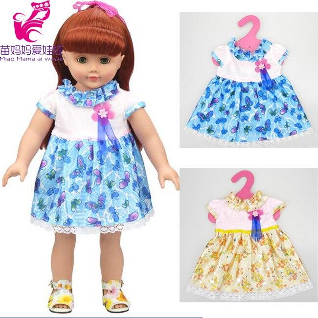 Para 18 45 cm muñeca American Girl flor azul amarillo vestido de la ...