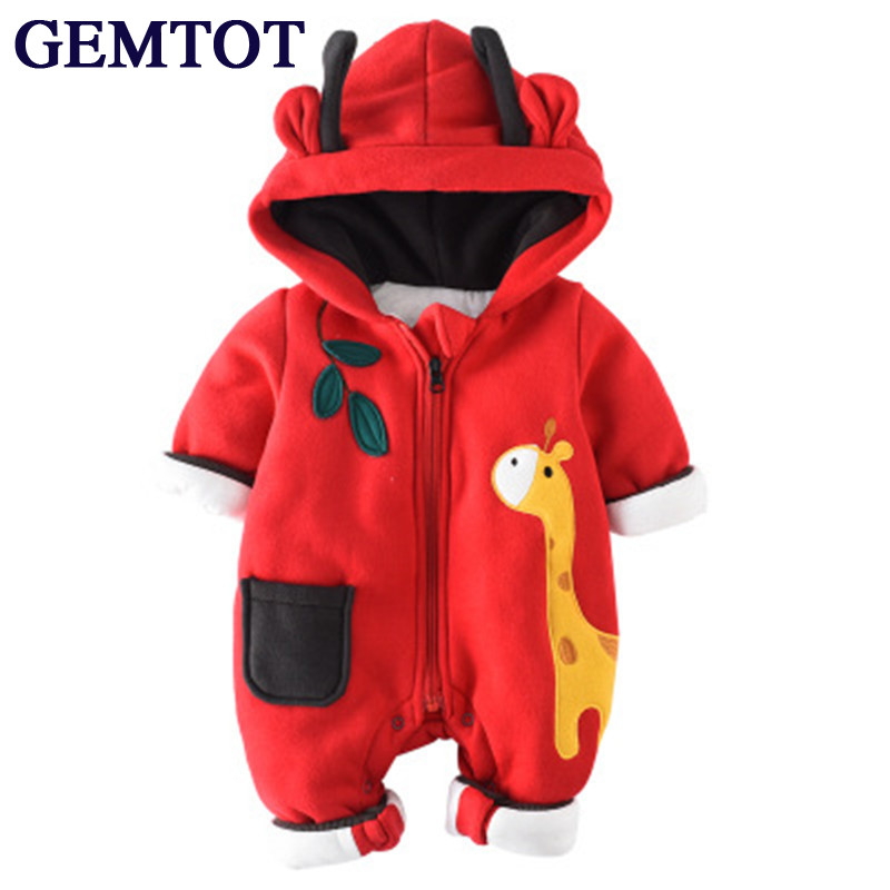 GEMTOT infant baby clothing romper toddler Warm crawling clothes Baby autumn and winter to go out wearing puseky 2017 infant romper baby boys girls jumpsuit newborn bebe clothing hooded toddler baby clothes cute panda romper costumes