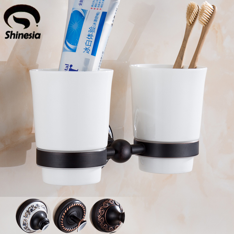 Bathroom Toothbrush Cup Holder Double Ceramic Cup Solid Brass Cup Holder Oil Rubbed Bronze leyden new brass oil rubbed bronze double toothbrush tumbler holder wall mounted toothbrush holder with cup bathroom accessories