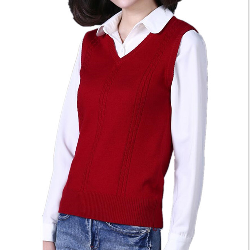 Autumn and winter new cashmere vest women V neck knitted sweater clothing sleeveless sweater vest sets