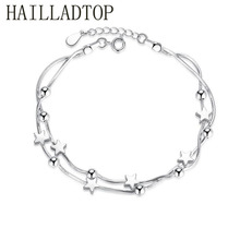 Pentagram Silver Bracelet Fashion High Quality Jewelry Wholesale Adjustable Hand Chain Women Gift