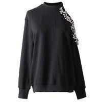 ANSFX Stylish Harajuku O Neck Pullover Off Shoulder Diamonded Sweatshirts Black Split Joint Loose Sweats Women Loose Jumper Tops