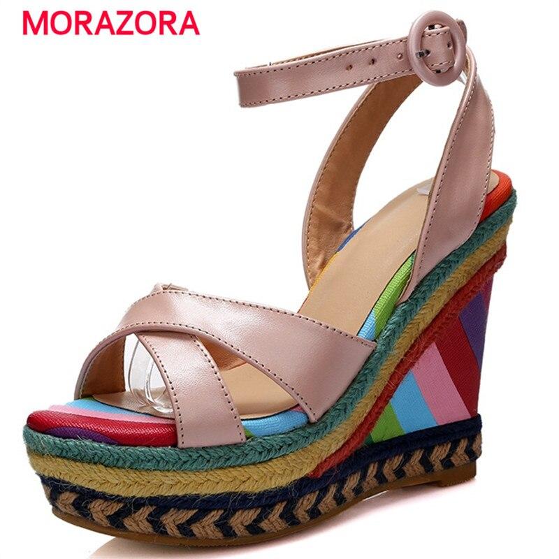 Mujeres Los Cuñas Cuero Partido Mujer Sandalias Vaca Bohemia Negro Zapatos Altos Calidad Superior Plataforma De Tacones rosado Verano Morazora AOwdqq