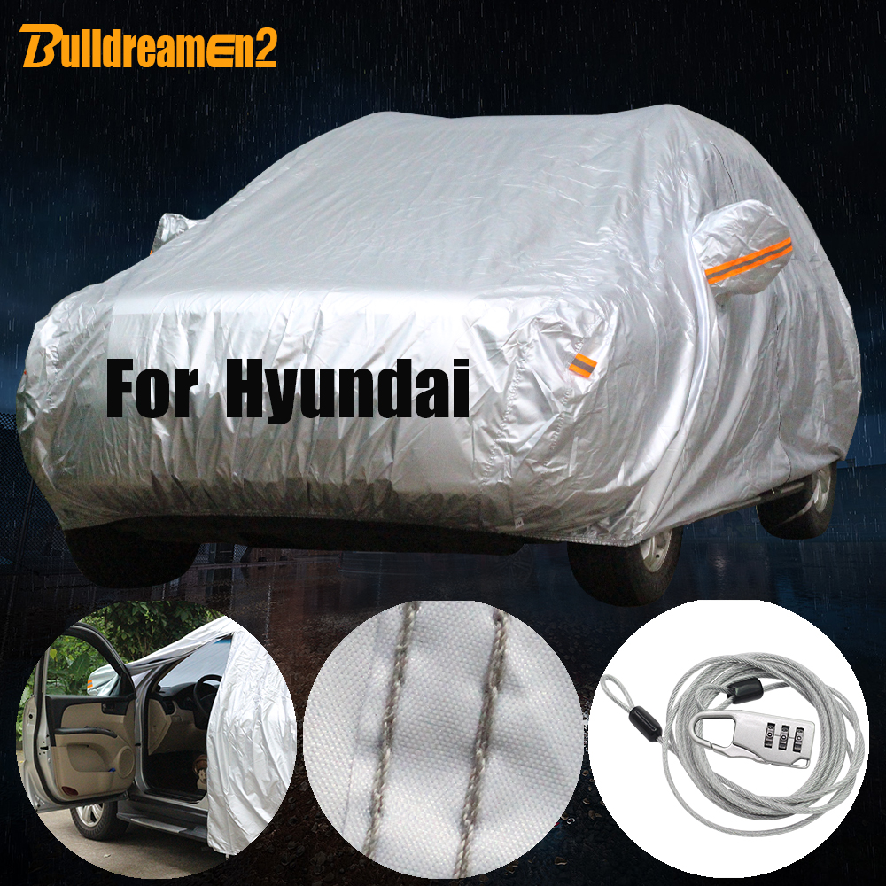 Buildreamen2 Full Car Cover Waterproof Sun Rain Snow Prevent Cover For Hyundai i30 Tucson Veracruz ix25 Trajet Santa Fe Terracan image