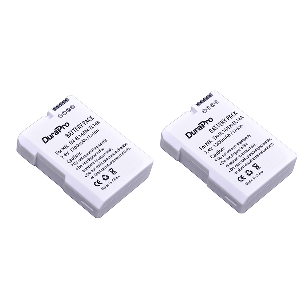 2pc EN-EL14 EN-EL14A EN EL14 camera Battery for Nikon D90 D300 D5300 D5200 D5100 D3300 D3200 D3100 for COOLPIX P7100 P7200 P7700