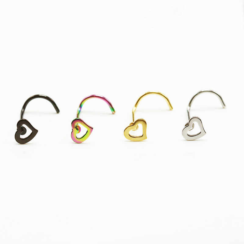 Hot 1pc Fashion Girl Body Jewelry Heart Stainless Steel Nose Ring & Studs Stainless Steel Nose Piercing Punk Party Jewelry
