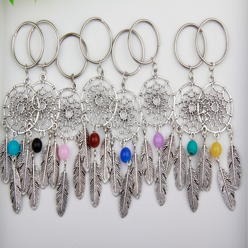 Antique Silver Dream Catcher Feather Tassel Multicolor Bead Charm Dreamcatcher Keyring Keychain Decorations Women Bag Jewelry handmade luminous feather bead dreamcatcher decoration