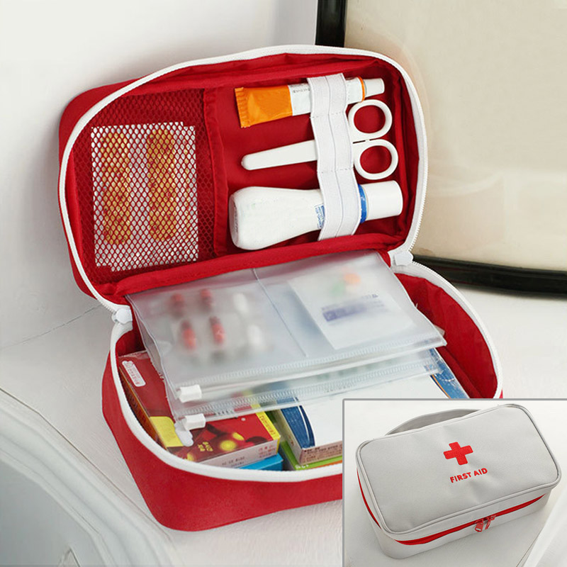 1PC Hot Portable Red White Red Cross Pattern First Aid Pouch Medicine Kit Candy Bags Traveling Storage Bags