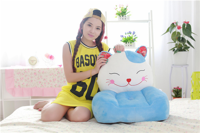 stuffed lovely blue cat children sofa toy cartoon Plutus cat tatami sofa toy gift about 50x45cm