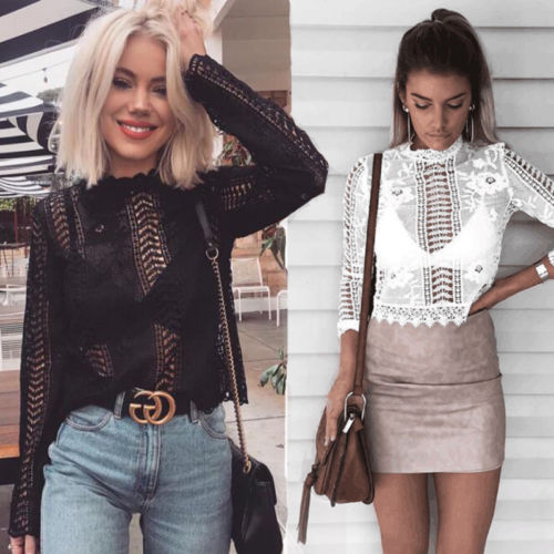 2018 Fashion Blouse Women Loose Long Sleeve Tops O-neck Shirt Casual Lace Collar Hole Pullover Hollow Out Au Women's Clothing