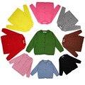 Nuevo 2016 Niñas Cardigan Niños de la Marca Suéter de Lana Básica de Manga Larga de Punto Caliente Primavera/Otoño Suéter de la Muchacha niños H394