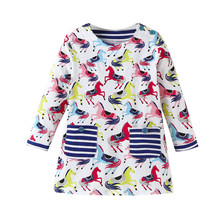 Baby Girls Dresses Kids Cartoon Long Sleeve Unicorn Printed Cotton Princess Dress Children Spring Autumn Clothes Party Dress цена