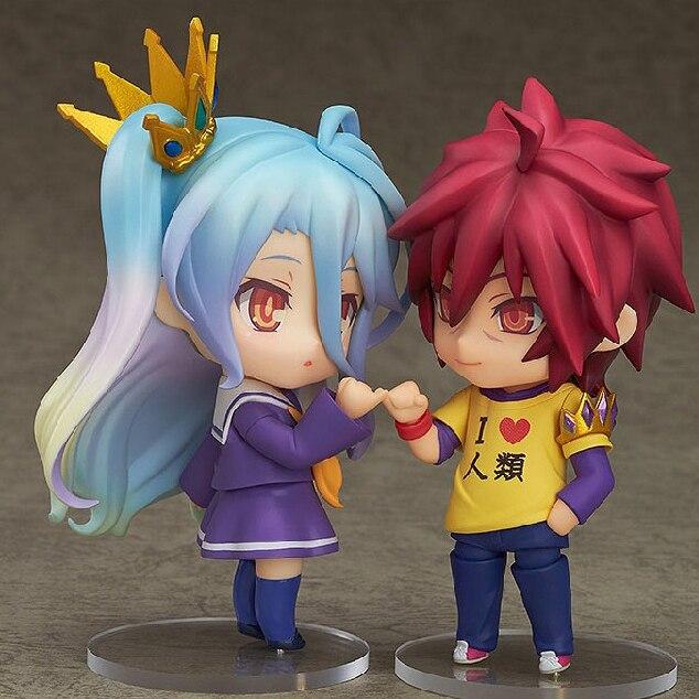 NO GAME NO LIFE Nendoroid Shiro 653# Sora 652# PVC Action Figure Collectible Model Toy 10cm