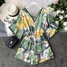 Boho Short Women Jumpsuit Beach V Neck Backless Korean Sexy Chiffon Tunic Floral Print Plus Size Summer Women Overalls Rompers недорого