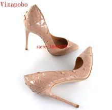 Vinapobo 2019 جديد وصول النساء أحذية الأفعى المطبوعة مثير الخناجر عالية الكعب 12 سنتيمتر وأشار اصبع القدم النساء مضخات السيدات حزب الأحذية