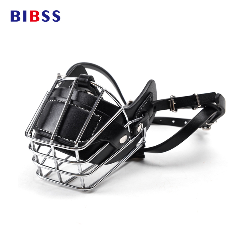 Svart Stor Hundestikk Metallvogn Kurv Lær Anti-bite Masker Munndekke Bark Chew Nuzzle Pet Breathable Safety Mask