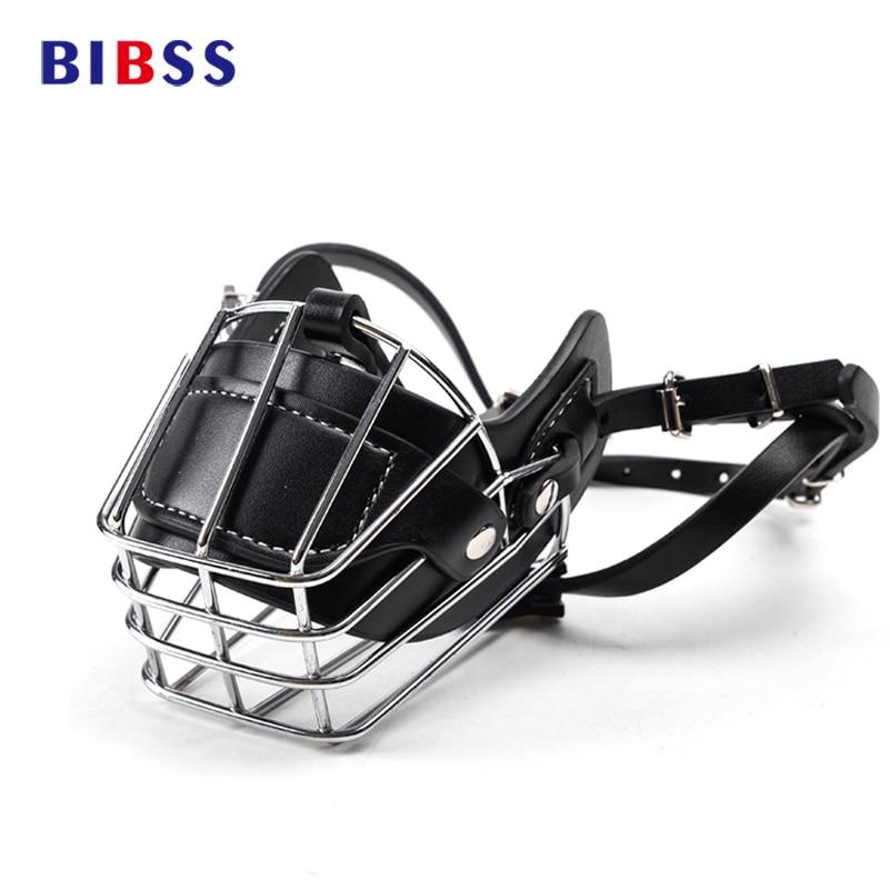 Negro Grande hocico del perro cesta de alambre de Metal cuero Anti-mordedura máscaras cubierta Bark Chew hocico mascota seguridad transpirable máscara