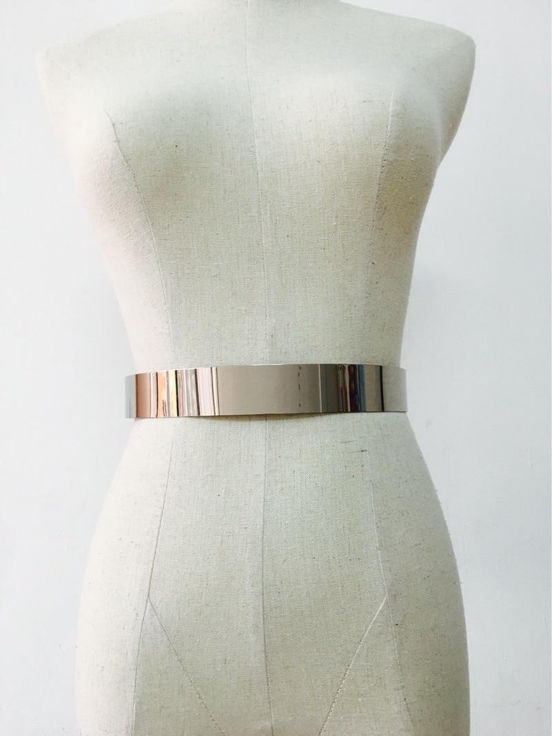 Fashion Women Adjustable Metal Waist   Belt   New Bling Gold Silver Color Plate Vintage Lady Simple   Belts