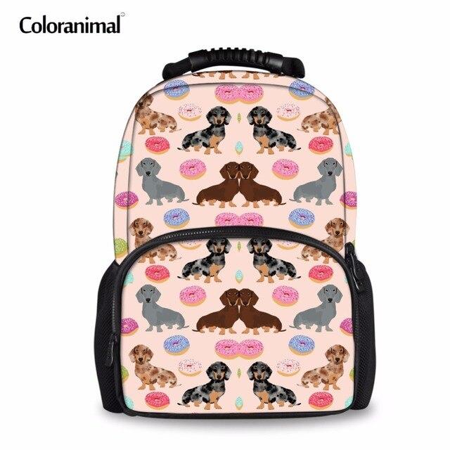 c7bf9ab5d58d Coloranimal Dachshund Bag 3D Cute Dachshund Dog Flower Pattern Children Kid Teen  Girl School Bag Women Felt Backpack mochila Bag