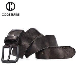 Image 3 - Rugged full grain leather belt man casual vintage belts men genuine vegetable tanned cowhide original strap male girdle TM007