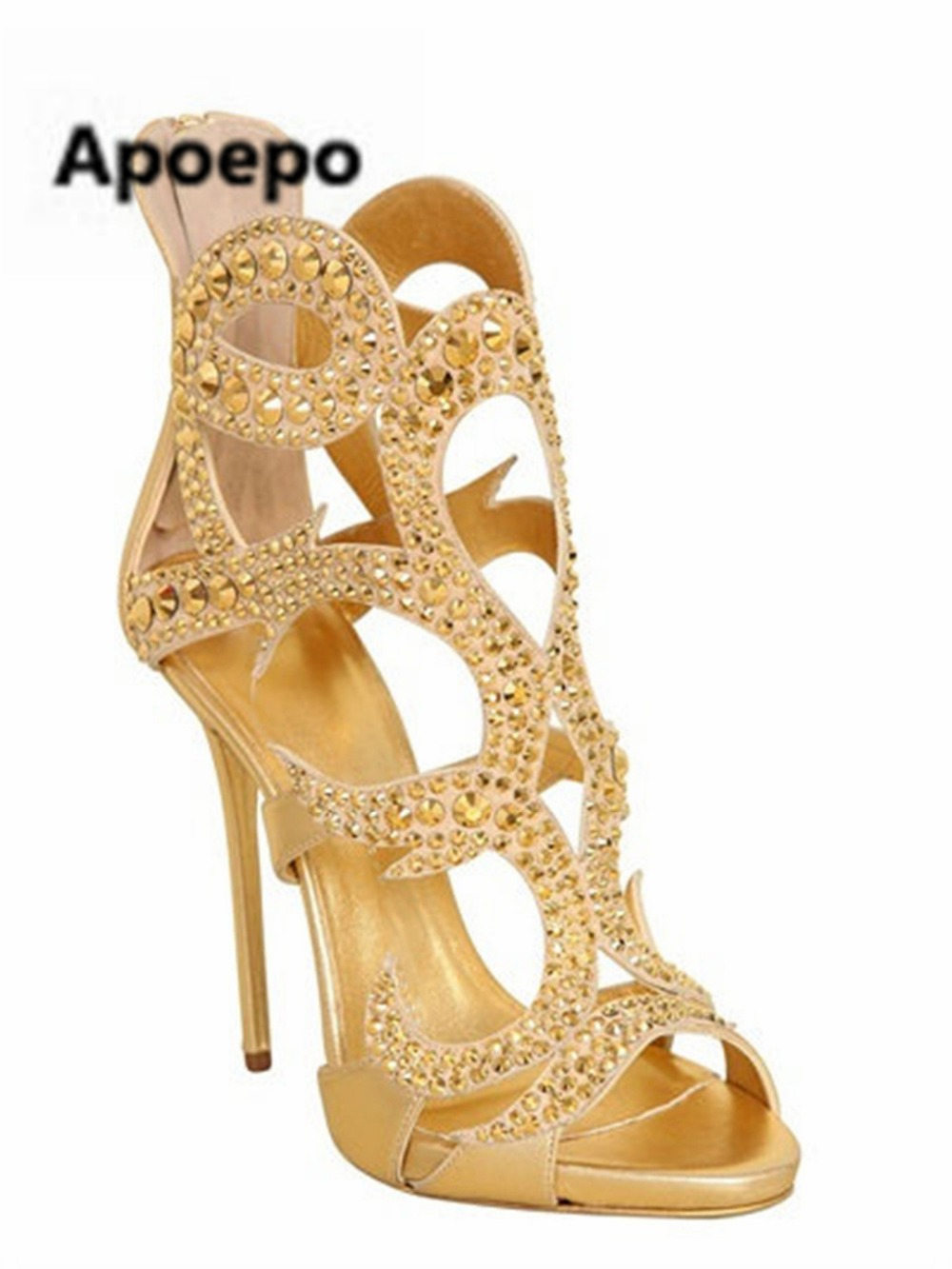 Apoepo women summer sandals bling gold shoes zip sexy cut-outs high heels sandals women peep toe ankle boots for girls newest sexy summer women boots cut outs peep toe rivets platform sandals boots high heels ankle boots shoes woman booties botas mujer