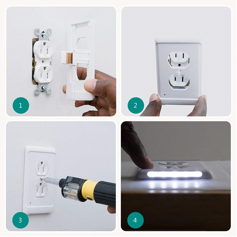 1Pcs Night Lights US Plug Wall Snap Power Guide Light-Outlet Wall Plate With LED Light SnapPower Guidelight