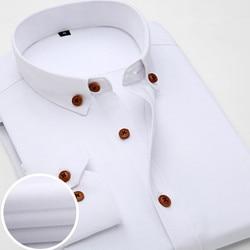 2016 New Oxford Plaid Casual Men's Shirt Slim Fit Formal&Business Occupation Man Shirts Spring Long Sleeve Men Dress Shirt M038 6