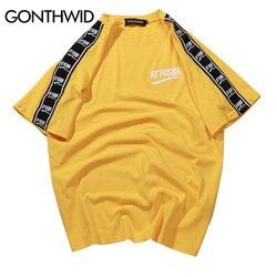 GONTHWID Band Hülse Gedruckt Kurzarm T-Shirt Hip Hop Casual T Shirts 2019 Sommer Mode Baumwolle Tees Streetwear T-shirts