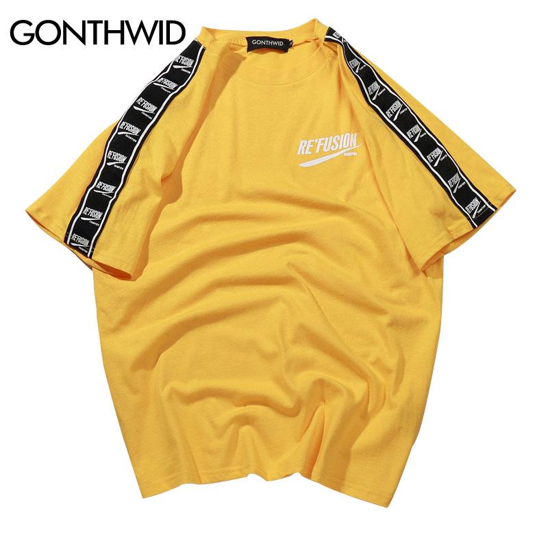GONTHWID Nastro Manica Stampato Manica Corta T-Shirt Hip Hop Casual T Camicette 2018 di Estate del Cotone di Modo Magliette Streetwear T Camicette
