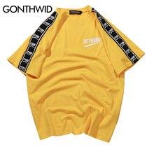 GONTHWID Ribbon Sleeve Printed Short Sleeve T-Shirt