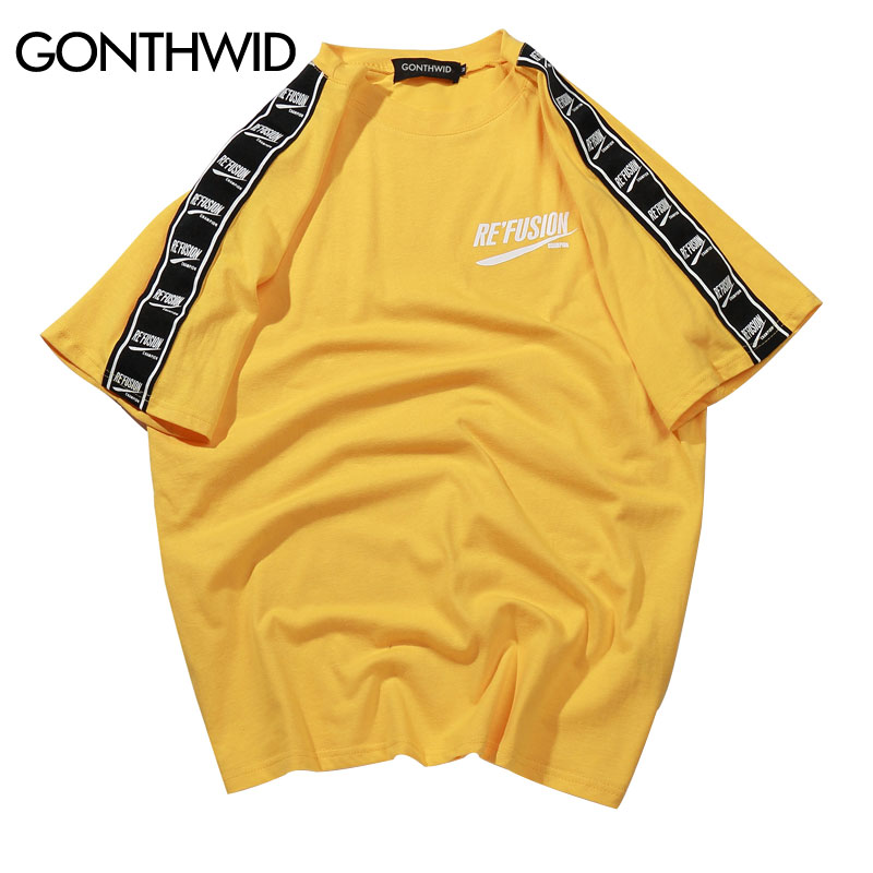 GONTHWID cinta manga impresa manga corta Camiseta Hip Hop Casual camisetas 2018 verano moda algodón camisetas Streetwear camisetas