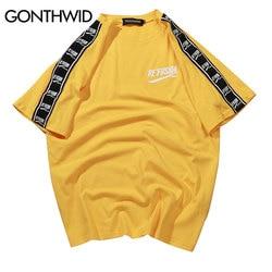 GONTHWID de manga corta Camiseta estampada de manga corta Camisetas casuales de Hip Hop 2019 camisetas de algodón de moda de verano Camisetas De Streetwear