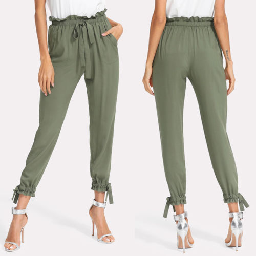 2018 New Women High Waist Drawstring  Elastic Harem Pants Chiffon Office Lady OL Solid Pencil Trouser Women Capris Cargo Pants