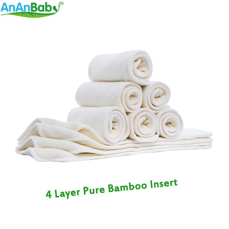 Ananbaby Super-soft Absorbent 4 Layers Pure Bamboo Cloth Diaper Inserts 5pcs Each Parcel