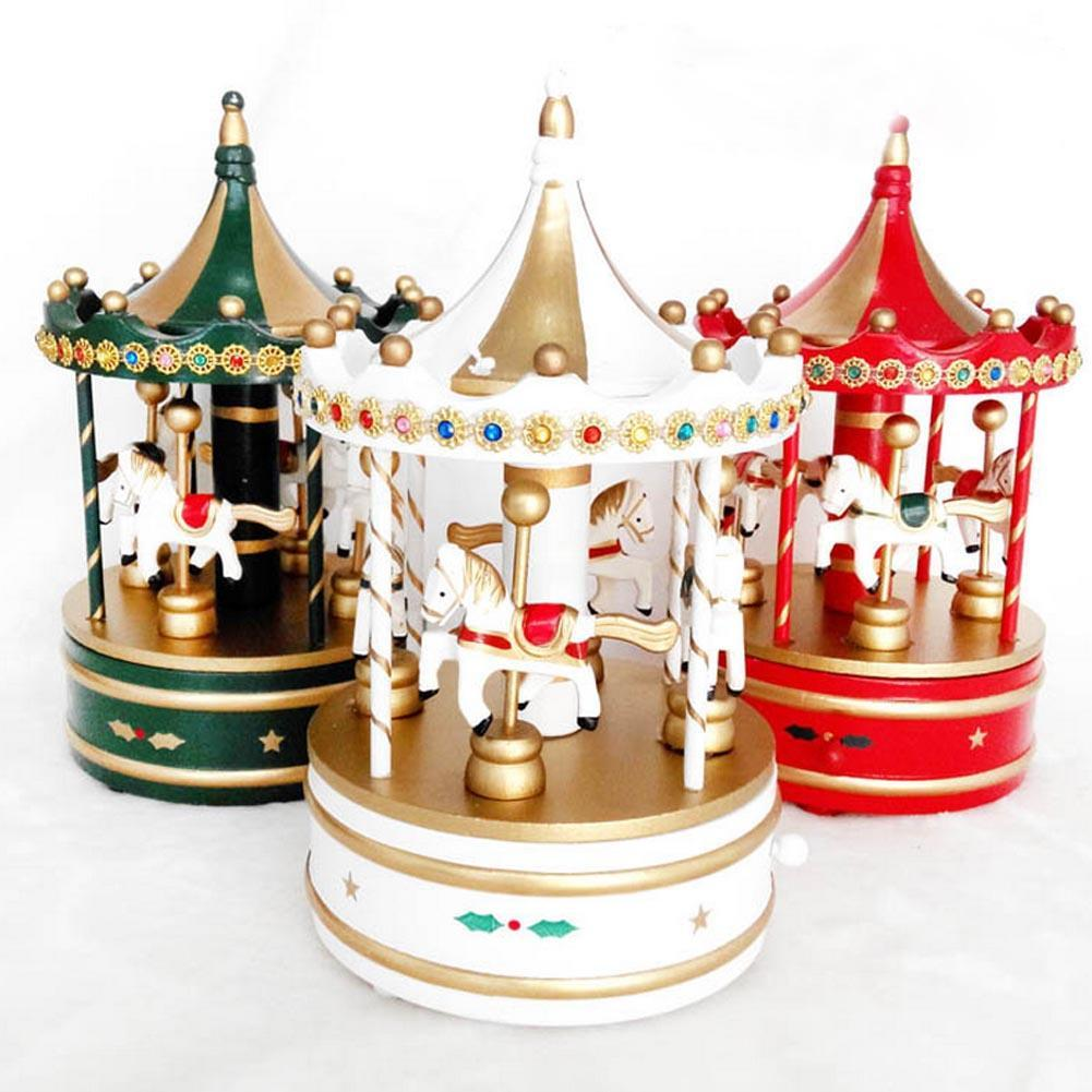 Christmas music ornaments - Wood Rocking Horse Decoration Rotation Trojans Music Box Christmas Birthday New Year Gift Music Box Children