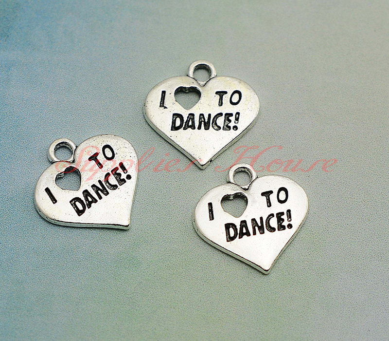 50pcslot--18x17mm, Heart Charms, Antique silver Plated I love to dance PendantsCharms,DIY supplies, jewelry making