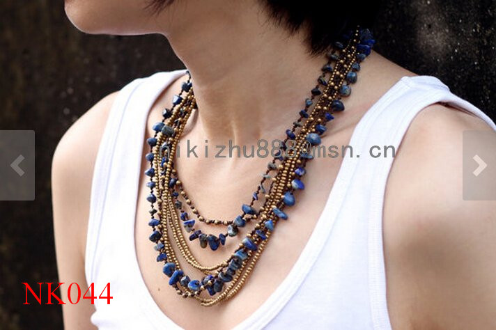 Fashion multilayer Lapis lazuli Long Wrap Necklace handmade copper bead necklace with wax cord 2017