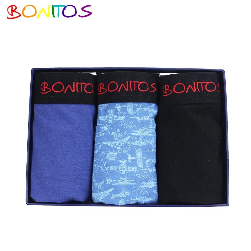 BONITOS Brand 3Pcs/Lot Men Boxer shorts Mens Underwear Boxers Boxershorts Men Calvin Cotton Bokserki calecon homme mutande uomo