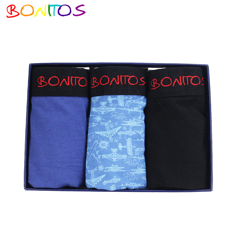 BONITOS Brand 3Pcs/Lot Men Boxer shorts Mens Underwear Boxers Boxershorts Men Calvin Cotton Bokserki calecon homme mutande uomo