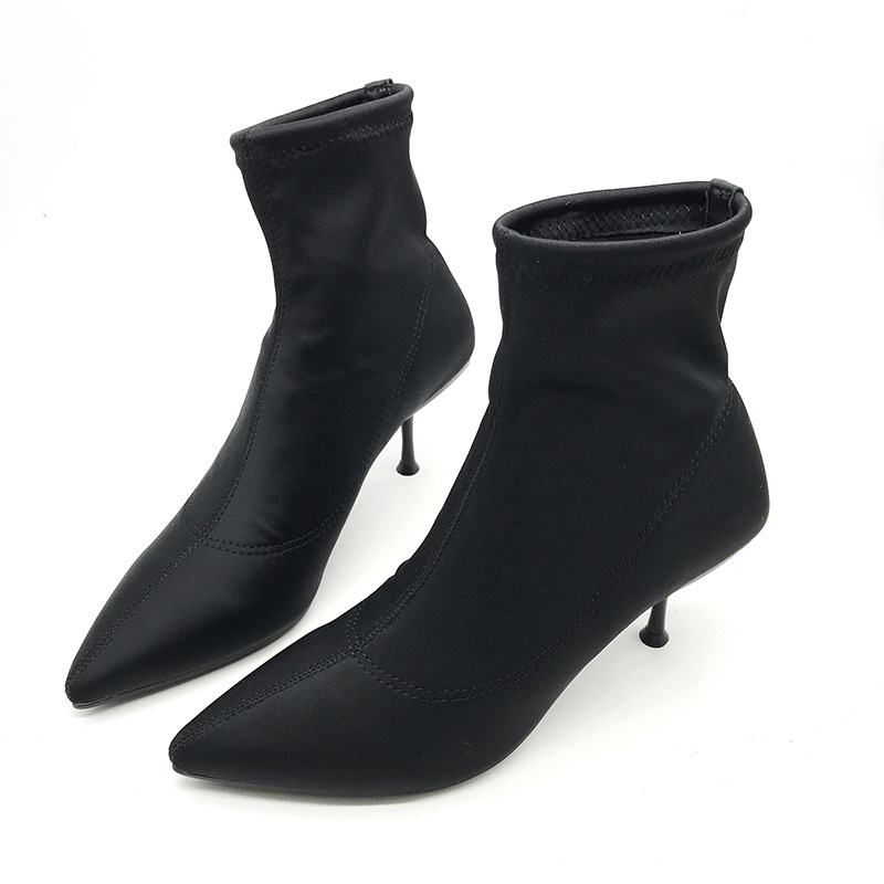 2018 autumn new high-heeled boots foreign trade elastic boots pointed stiletto womens boots black ljj 02192018 autumn new high-heeled boots foreign trade elastic boots pointed stiletto womens boots black ljj 0219