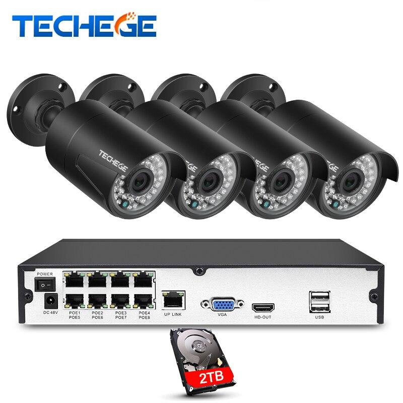 Techege Plug And Play 8CH NVR 48 v POE CCTV Système Onvif P2P 1080 p HD H.264 Détection de Mouvement En Plein Air sécurité POE IP Caméra Xmeye