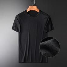 Minglu Summer New O neck Short Sleeve Mens T shirts Slim Fashion Dark Grain Thin And Light Breathable Mens T shirts Plus Size