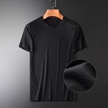 Minglu, novedad de verano, camisetas de manga corta con cuello redondo para hombre, camisetas finas y ligeras transpirables de grano oscuro de moda de talla grande