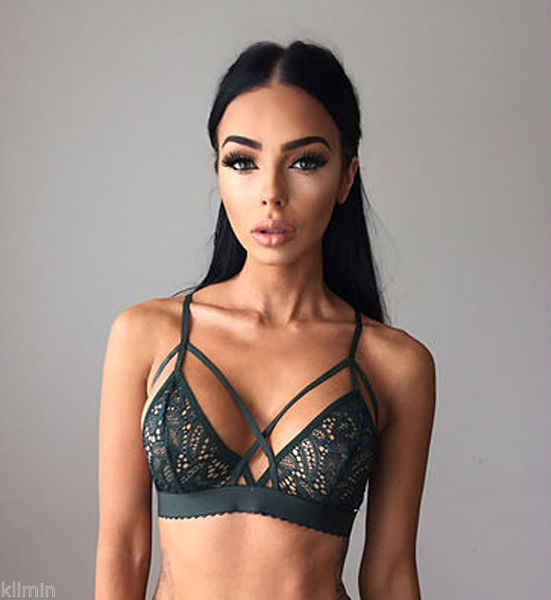 Mulheres Sexy Floral Lace Bra Bustier Top curto Sheer Malha Suave Triângulo Unpadded Bralette Sutiã