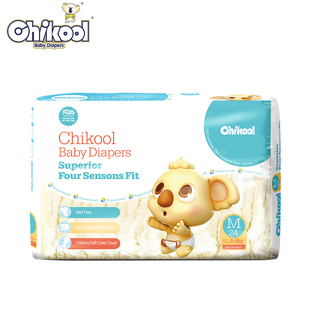 Baby Diaper Chikool Size M 24 Pieces For 6-8kg Lasting Dry Disposable Diapers Nappy Extra absorbency absolute leakage protection